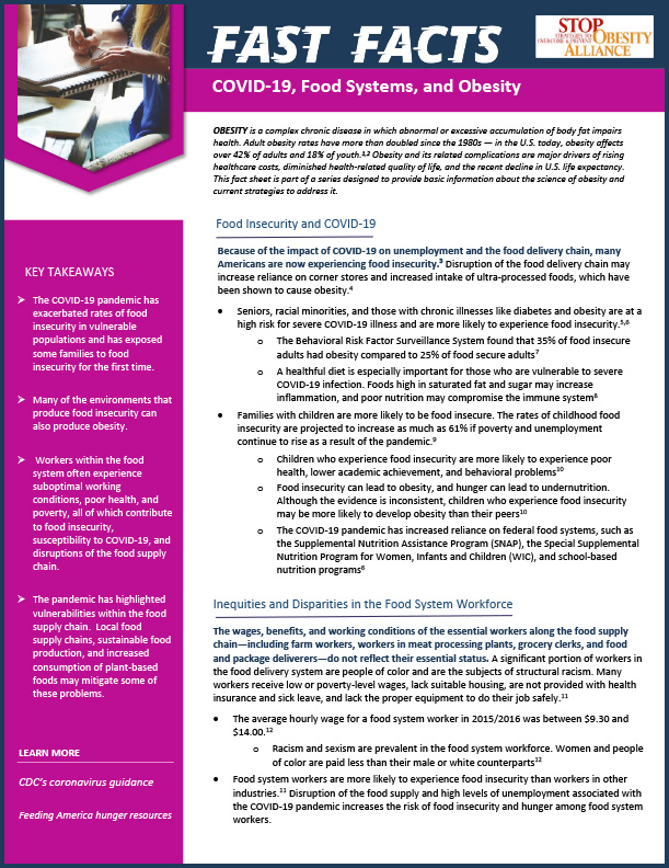 STOP Fact Sheet - COVID-19, Food Systems, and Obesity