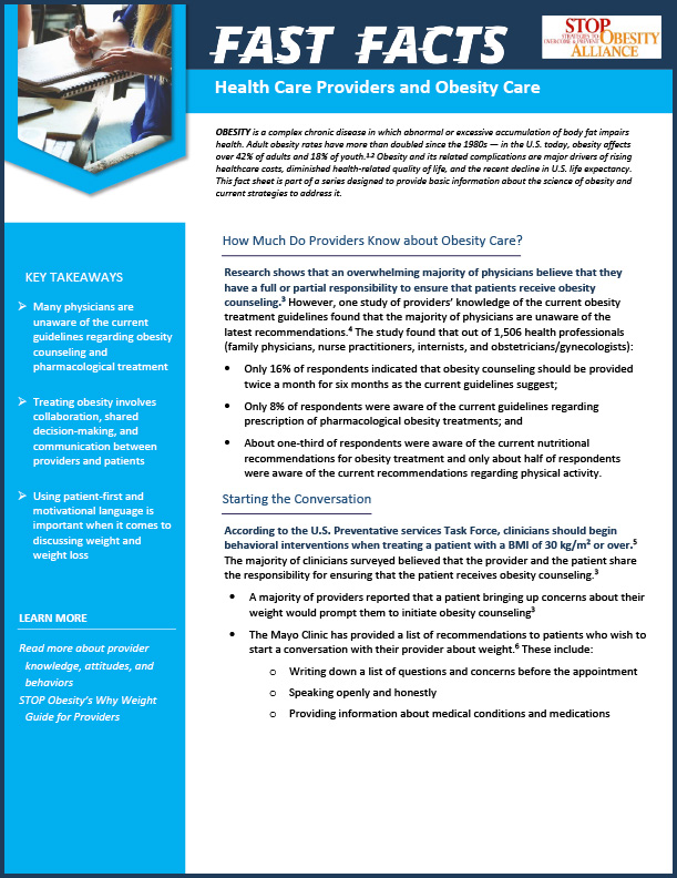 STOP Fact Sheet - Health Care Providers and Obesity Care