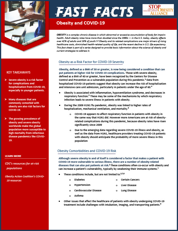 STOP Fact Sheet - Obesity and COVID-19