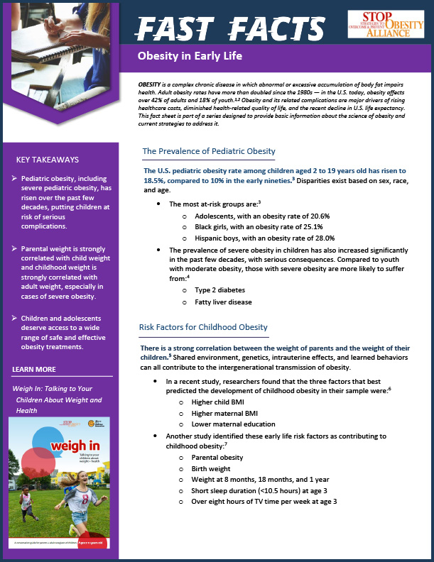 STOP Fact Sheet - Obesity in Early Life