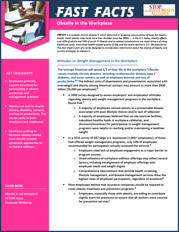 STOP Fact Sheet - Obesity in the Workplace