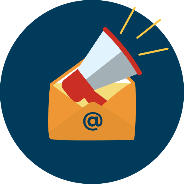 e-newsletter icon - megaphone coming out of envelope